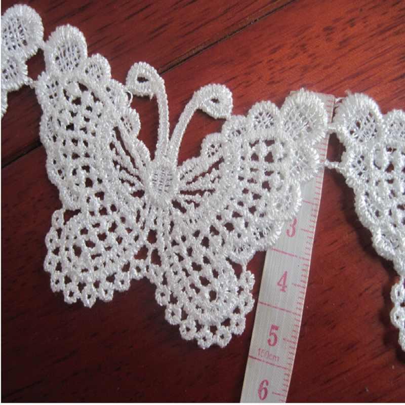 Аксессуары для кружевной одежды Экспорт Изящный Белый бант растворимые кружева вышивка 6,5 см * 5 см горячая распродажа