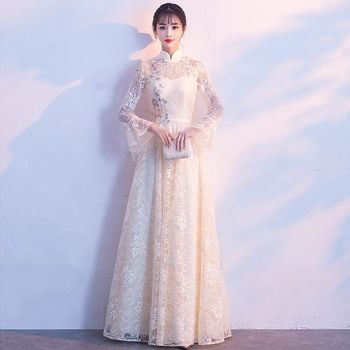 Champagne Fashion Chinese Lace Short Cheongsam Dress Embroidery Long Sleeve Chinoise Oriental Style Dresses Qi Pao Size S-XXXL