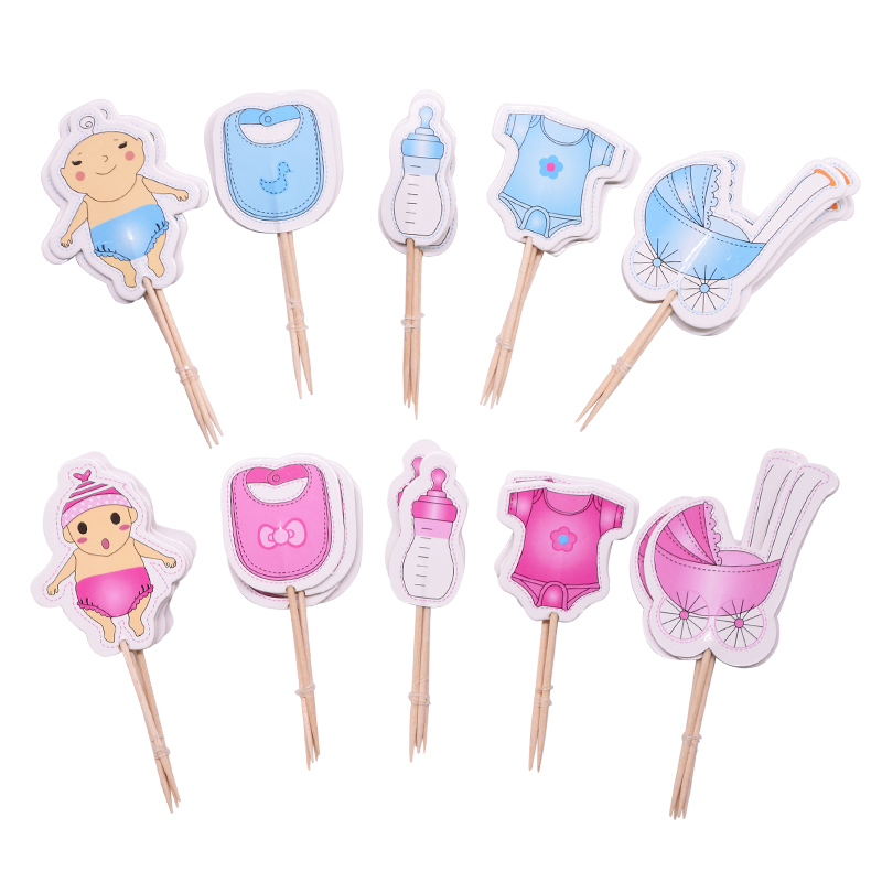 20pcs Baby Shower Cup Cake Toppers Boy&Girl Birthday Party Cute Decoration Baby Shower Birthday Party DIY Cake Topper Supplies