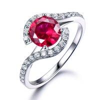 Lab Rubi Anel de Noivado Solid 14 k Branco Amarelo Ouro Rosa diamante Do Anel de Casamento Mulheres de Noiva Presente de Aniversário para o Seu Único homens