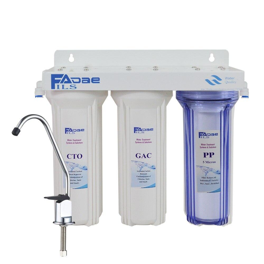 ¡Alta calidad! sistema de filtración de agua potable en 3 etapas bajo el fregadero-incluye filtros de sedimento, bloque de carbono y GAC-tipo de cocina