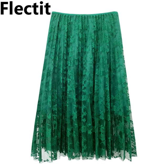 9d762bccf3 Flectit Green Grey Fashion Floral Lace Midi Pleated Skirt High Waist Mesh  Tulle Skirt Saia Feminina 2018 Autumn Winter