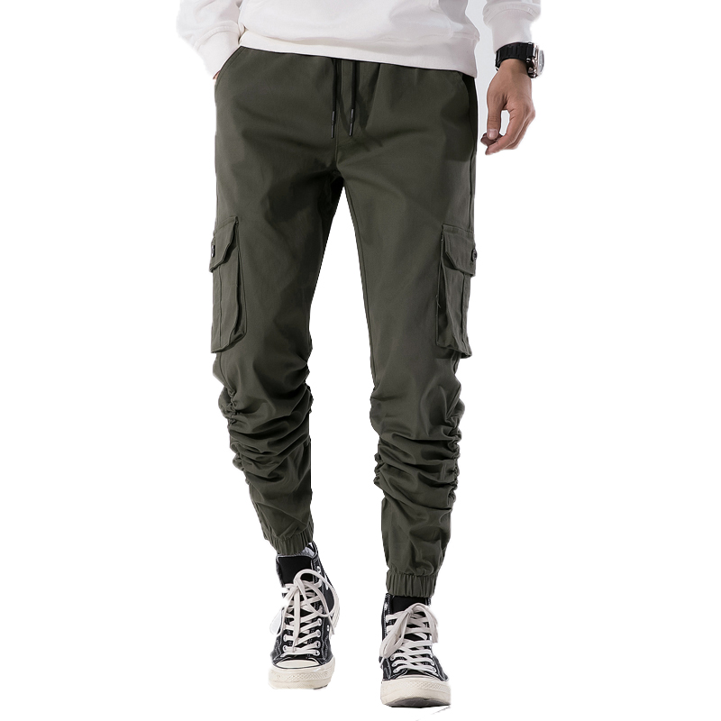 2019 Men Army Green Cargo Pants Mens Jogger Pants Youth Casual Ankle Banded Pants Brand Male Streetwear Ropa Para Hombre 30 -38
