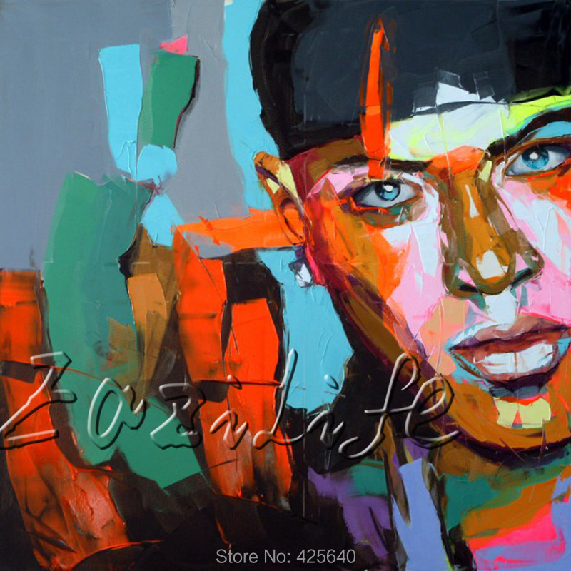 Palette font b knife b font portrait Face Oil painting christmas figure canvas Hand painted Francoise