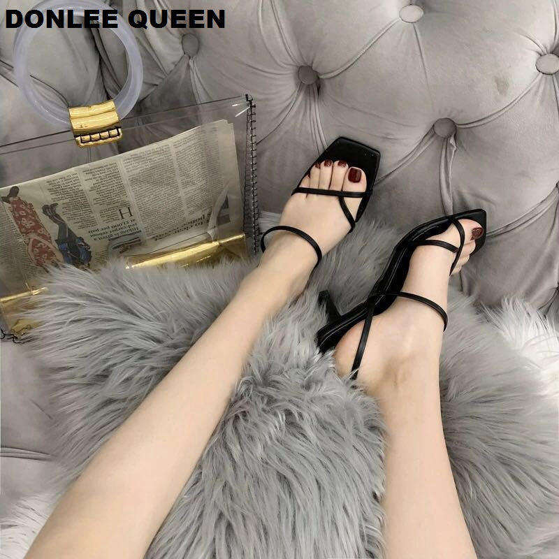 Image 3 - DONLEE QUEEN 2019 Ankle Strap Heels Women Sandals Summer Shoes Open Toe Chunky Med Heel Party Dress Shoes Narrow Band Sandal NewHigh Heels   -