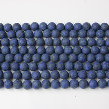 LanLi 8mm natural jewelry navy blue Lapis Lazuli Loose Beads DIY Fashion bracelet necklace ear stud Accessories(China)