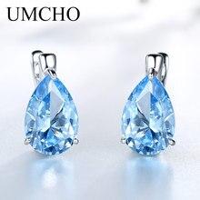736f18098a93 UMCHO genuino 100% de la joyería de la plata esterlina 925 pera creado  cielo azul Topacio pendientes de Clip pendientes largos a.