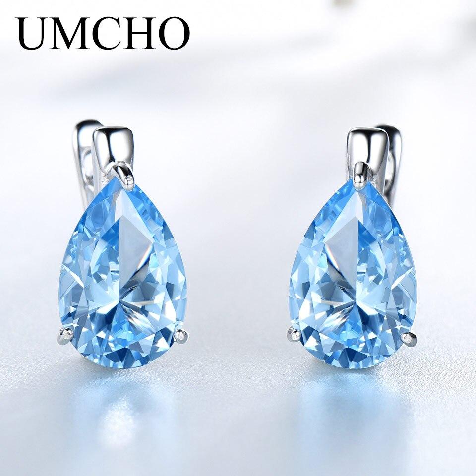 UMCHO Véritable 100% 925 Bijoux En Argent Sterling Poire Créé Ciel Bleu Topaze Boucles D'oreilles Clip Pour Les Femmes Anniversaire Cadeau Fine Jewelry