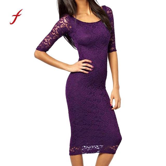 678556408991 feitong 2018 Party Dress Black O-neck Three quarter Sleeve solid purple  Lace Dress Women Elegant Scallop Midi Dress dropshipping