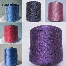 Nova chegada popular lantejoulas fio 250g moda linha mão tricô agulhas contas fio fio de tricô fio d697