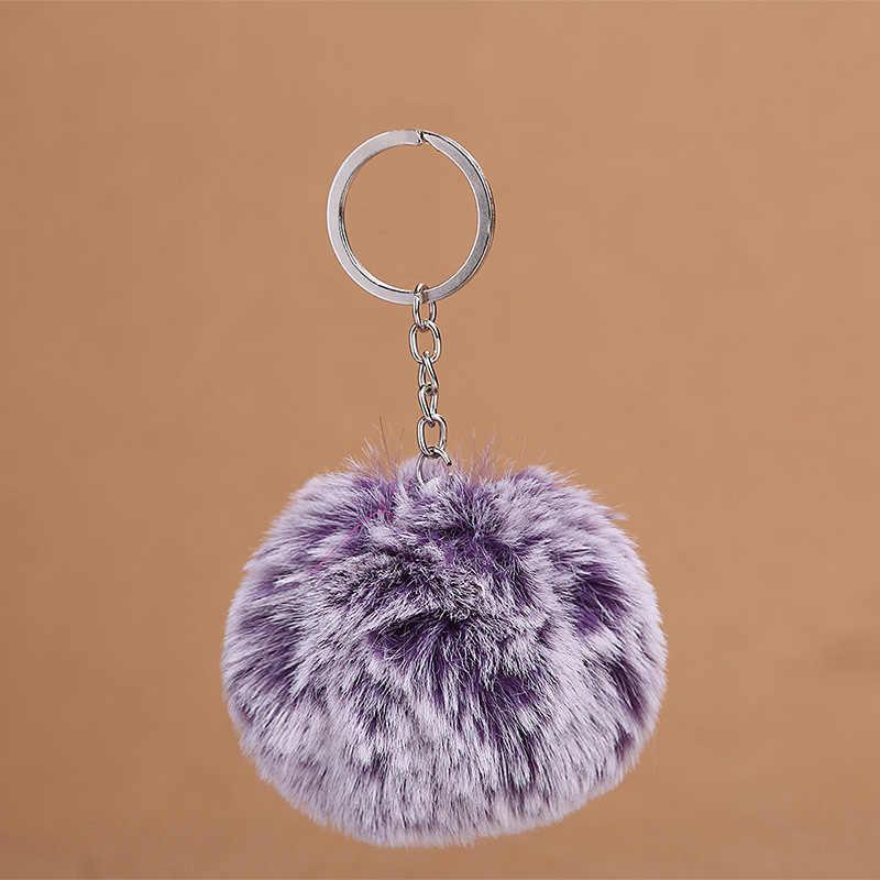 Moda 8 centímetros Faux Rabbit Fur Neve Hairball Chaveiro Anel Mulher Pompom Saco Encantos Chaveiro Carro Chaveiro Bola De Festa trinket Presente