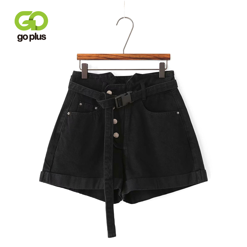 GOPLUS Summer   Shorts   Women Vintage Casual Black Buttons Sashes Denim High Waist Mini   Shorts   Feminino Straight   Shorts   C7530