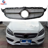 For Mercedes W205 Front Hood Diamonds Grille C Class Sport Edition C180 C200 C250 C300 C400 AMG Package 2015 +