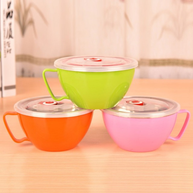 Fantastic Hot Solid Stainless Steel Soup Bowl Instant Noodle Bowl With Lid  SL23
