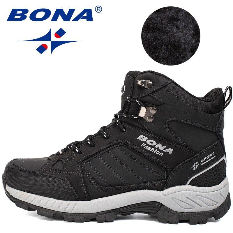 BONA yeni klasik tarzı erkekler yürüyüş ayakkabıları açık yürüyüş koşu Trekking spor ayakkabılar çok Fundtion tırmanma Sneakers erkekler için