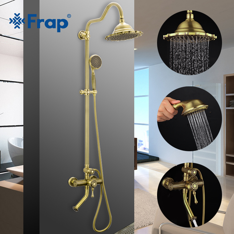 FRAP Sanitary Ware Suite bronze antique style bathroom shower faucet mixer rain shower set waterfall bath faucet system tapware