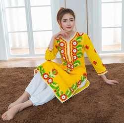 2019 индийский традиционный костюм для йоги хлопок ручной работы Вышивка Топ кундалини желтое платье