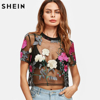 SHEIN Flower Embroidered Mesh Blouse Summer Womens Tops And Blouses Black Round Neck Short Sleeve Sexy