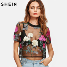 SHEIN Flower Embroidered Mesh Blouse Summer Womens Tops and Blouses Black Round Neck Short Sleeve Sexy Crop Top(China)