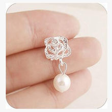 2018 Fashion Camellia Rose imitation pearl earrings female jewelry wholesale free shipping(China)