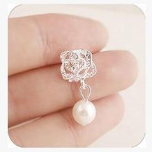 2018 Fashion Camellia Rose imitation pearl earrings female jewelry wholesale free shipping