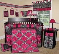 14 pieces Crib Infant Room Kids Baby Bedroom Set Nursery Bedding Floral black pink cot bedding set for newborn baby girls