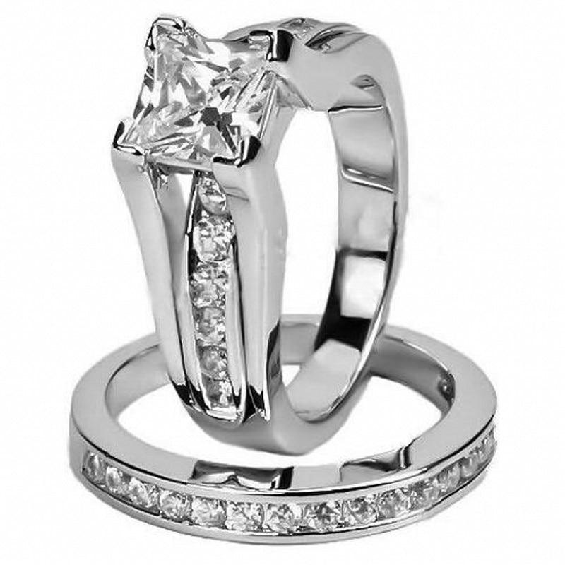 Роскошные Твердые стерлингового серебра 925 Свадебные кольца комплект Юбилей Винтаж Стиль 1 карат CZ Diamant Обручение кольцо