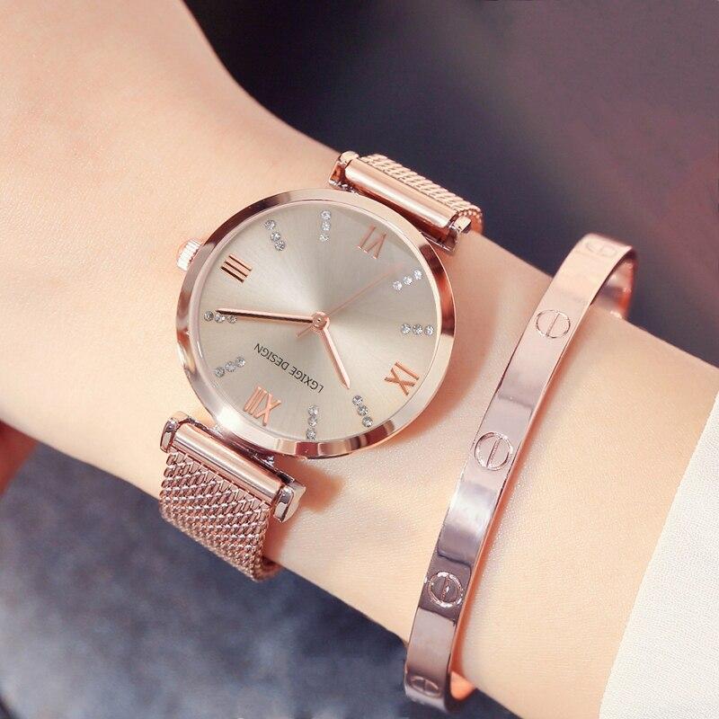 efc105bdb09 Assistir Mulheres Nova Moda Top Marca de Luxo de Aço Relógio de Quartzo das  Mulheres do