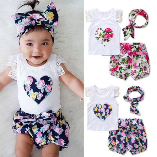2017 Summer Toddler Kids Baby Girls Outfits Clothes T-shirt Tops+ Flower Pants/Shorts/Skirt 2PCS Set Outfit fashion 2pcs set newborn baby girls jumpsuit toddler girls flower pattern outfit clothes romper bodysuit pants