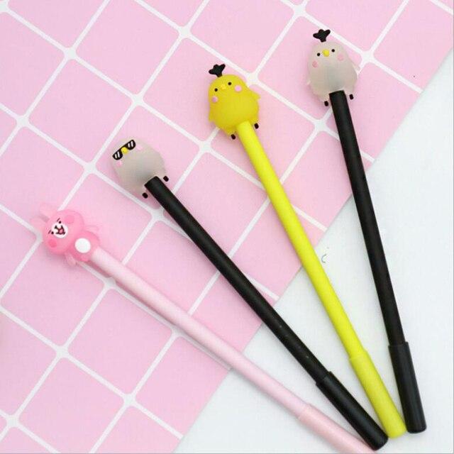 4 pcs/Lot Animal chick gel pens 0.5mm cute pink rabbit black ink pen
