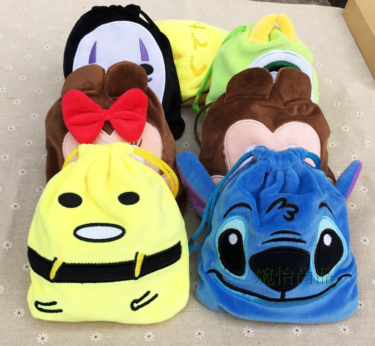 IVYYE 1PCS Stitch Anpanman Cartoon Drawstring Bags Cute Plush Storage Handbags Makeup Bag Coin Bundle Pocket Purses NEW