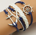 Vintage Braided Leather Rudder Anchor Bracelet Women,5 Multi Layer Bracelets for Women Men Infinite Pulseras Hombre Deri Bilezik