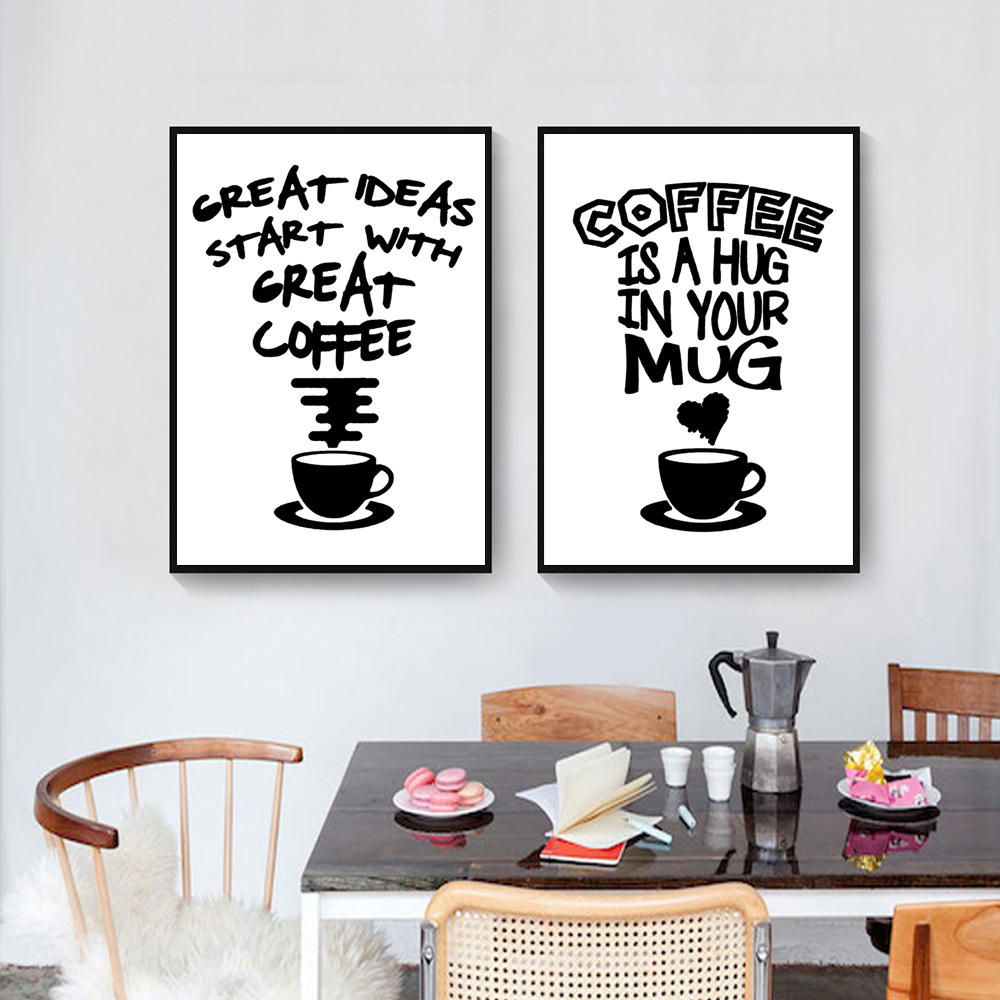 Image 4 - Fasion Poster Black And White Posters And Prints Quotes Wall Canvas Coffee Painting Quotes Pictures Quote Poster Art Unframed-in Painting & Calligraphy from Home & Garden