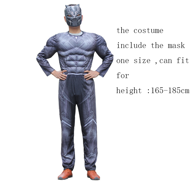 Black Panther Boys Deluxe Muscle Halloween Costume Cosplay Jumpsuit /& Mask S,M,L