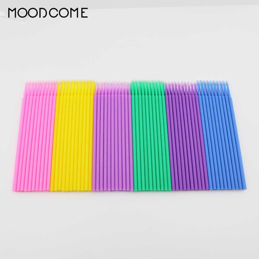 100 Pcs Miniatur Tips Ekstensi Bulu Mata Sikat Bersih Sekali Pakai Individu Bulu Mata Aplikator Maskara Sikat Menghapus Alat