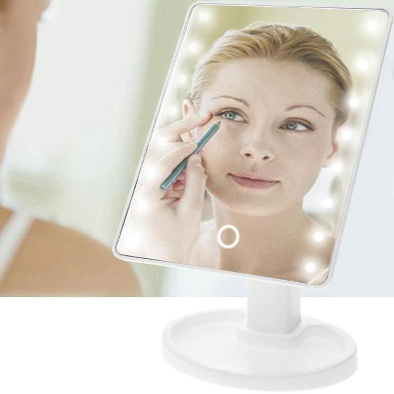 LED Touch Screen Makeup Mirror Professional Vanity Mirror With 16 22 LED Lights Health Beauty Adjustable