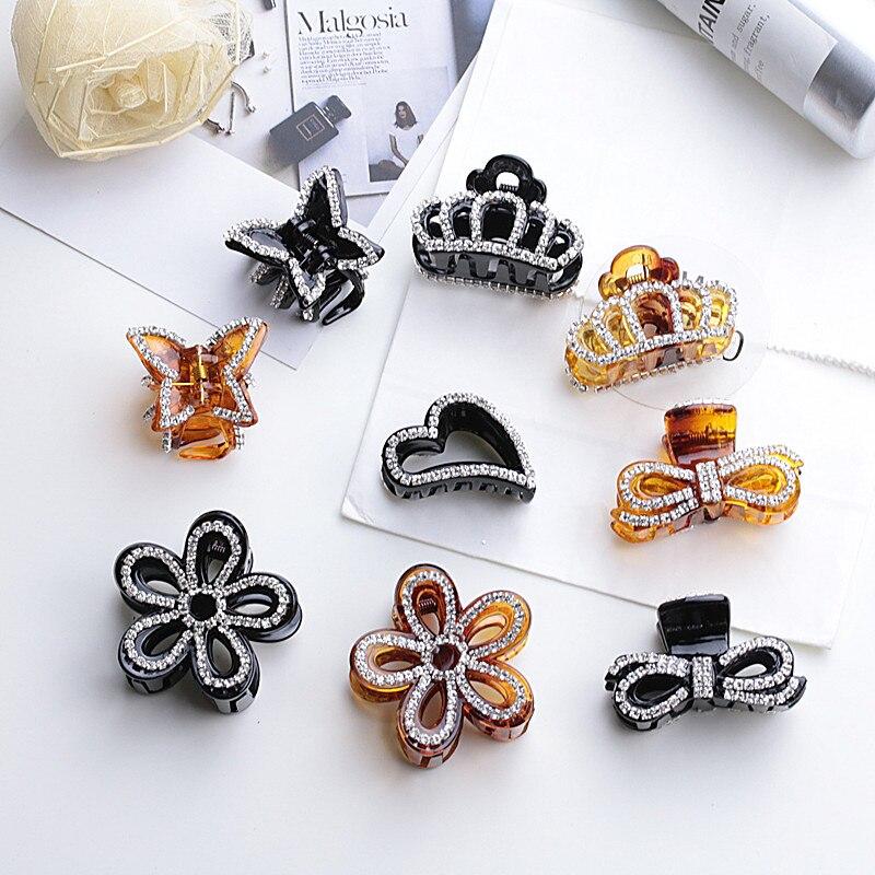 New Design 1 Pc Women Girl Fashion 2017 Black Brown Crystal Pearl Rhinestone Hair Clip Bowknot Hair Claw Hair Jewelry