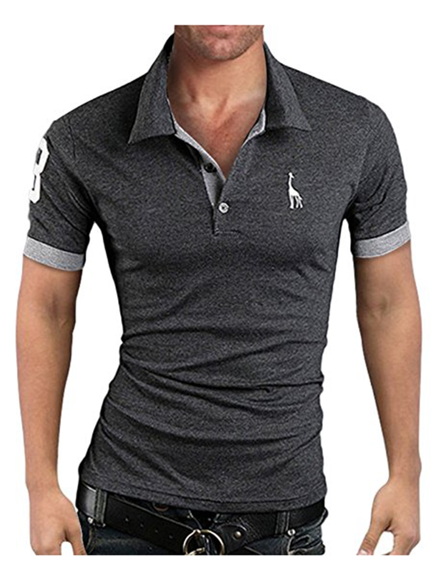Men's Polo Multi-Color Deer High Quality Cotton Polo Shirt Men's Short Sleeve Slim Business Casual Solid Fit Tops 17
