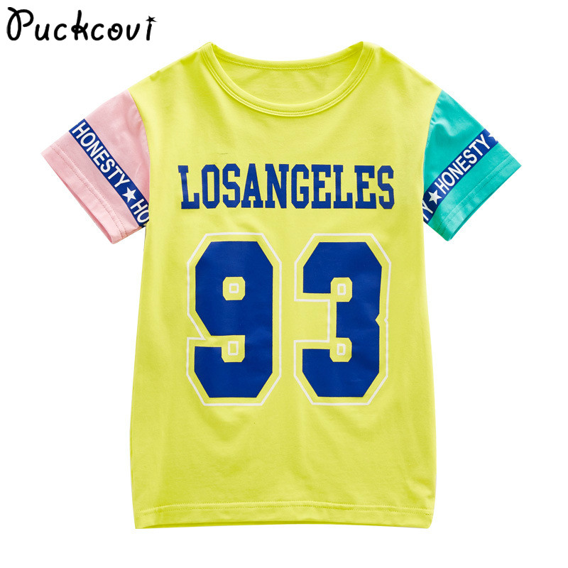 Girls t-shirt Printing Youth girls T-shirts 2018 Summer Color block sleeves tshirt fashionable Tees all-match cotton kids tops