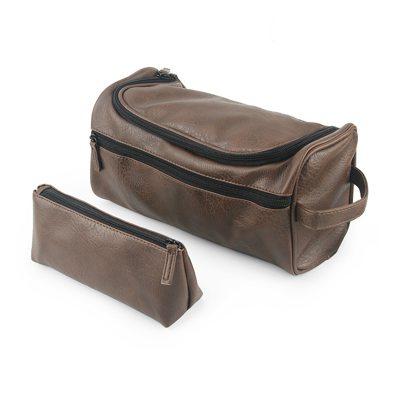 2Pcs/Set PU Leather Luxury Travel Cosmetic Bag Hanging Makeup Case Women Men Large Capacity Zipper Makeup Toiletry Bag