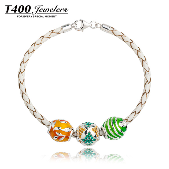 75d2c57cf T400 made with swarovski elements spacer beads,925 sterling silver Charm  bracelet,fits european
