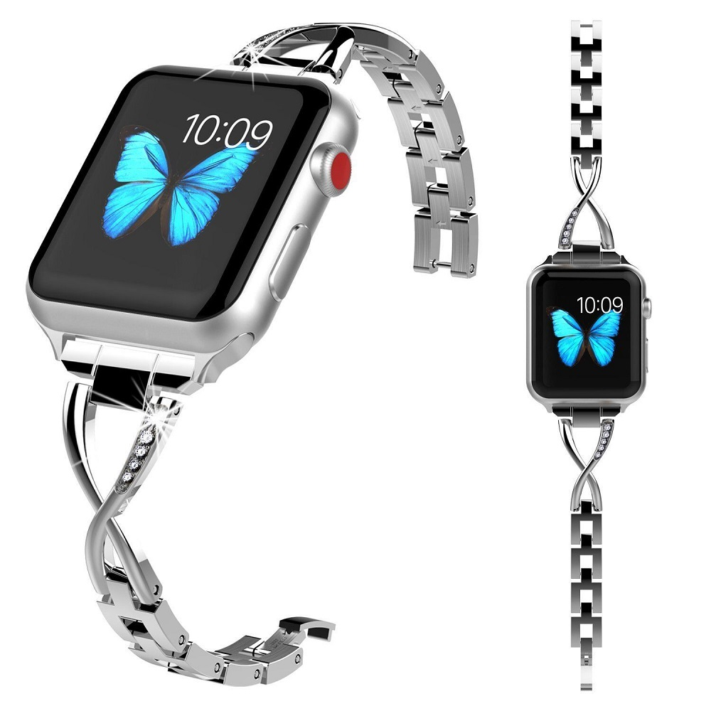38mm/42mm Diamante In Acciaio Inox Banda di Sostituzione Intelligente fitness Wristband Cinghia Braccialetto di Collegamento Per Apple Serie di Orologi 1/2/3