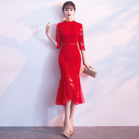 Elegant Women Lace Solid Cheongsam Traditional Flower Qipao Oriental Bride Chinese Dress Classic Red Evening Mermaid Gowns