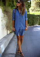 Women Casual Denim Dresses Pockets Elegant Cowboy Fashion Women Feminino Lady Slim Shirt Dress Jeans 2