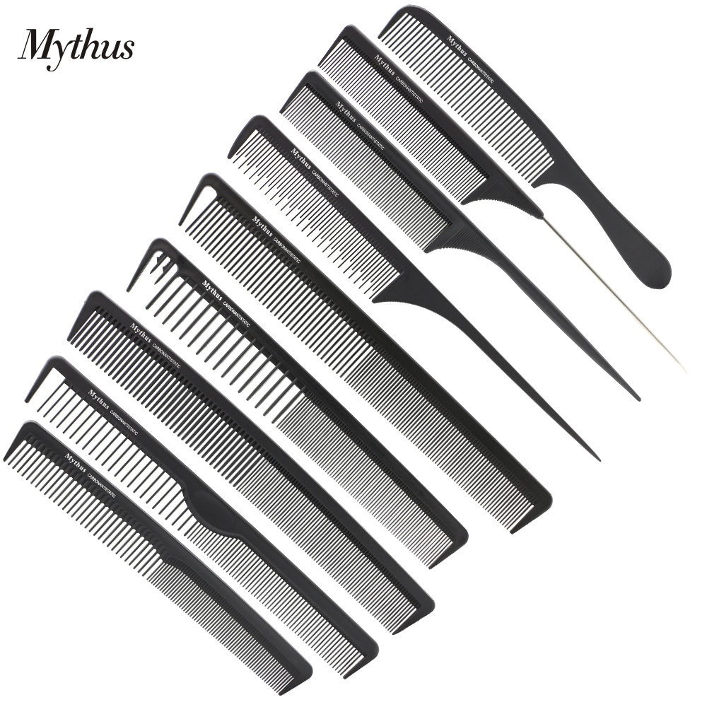 Mythus 9 Piece / Lot Barber Hair Carbon Comb Set Antistatisk Tail Comb Frisør Hårskæring Comb Varmebestandigt Styling Tools