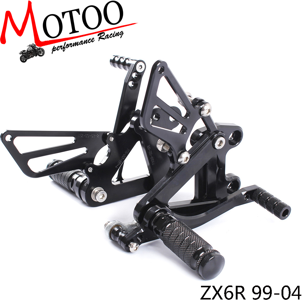 Full CNC Aluminum Motorcycle Adjustable Footrest Footpeg Pedal Rearsets Rear Sets Foot Pegs For KAWASAKI ZX6R ZX-6R 1999-2002