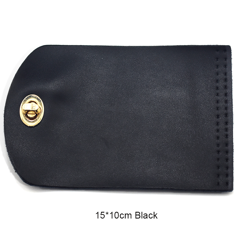 15x10cm Bag Flip Cover Leather Replacement Bag Accessories with Lock Handmade DIY Handbag Shoulder Bag Parts Black Coffee KZ0096
