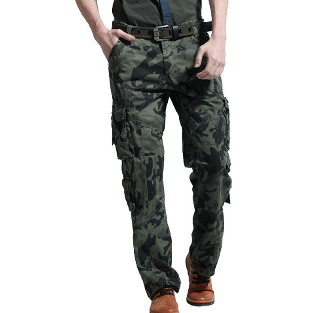 2017 New Brand Man Military Army Camouflage Cargo Pants Plus Size Multi-Band Pants Overalls Casual Baggy Camouflage Trousers Men
