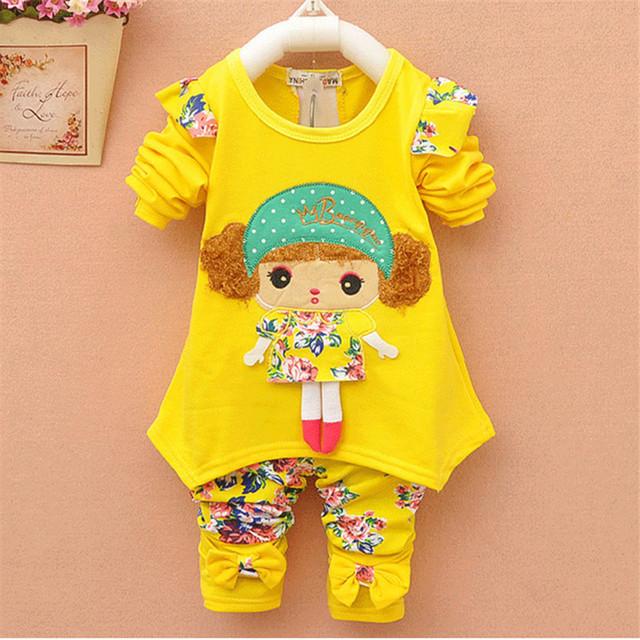 Yue Yue sp18 Gato bebê menina roupa dos miúdos das crianças meninas conjuntos de mangas compridas terno bonito design casual t-shirts e calças