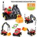 Техническая машина экскаватора rooter 5 в 1 Technic Block DIY Строительные кирпичи Обучающие Детские игрушки подходят Duploed детский подарок